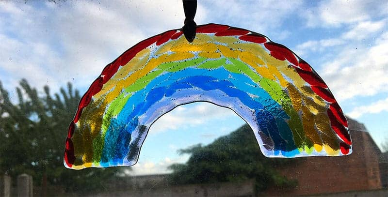 arched rainbow fused glass