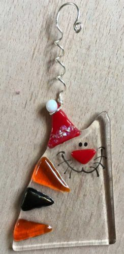 Santa cat fused glass