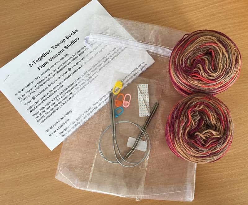 knitted sock kit contents